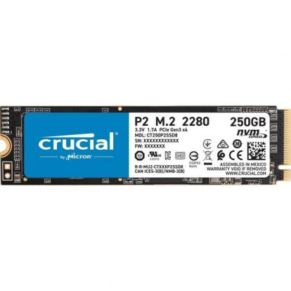 Crucial P2 250GB M.2 2280 PCI-Express 3.0 NVMe Solid State Drive (Micron 3D NAND)