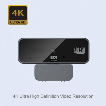 Adesso CYBERTRACK H6 4K Ultra HD USB Webcam with Built-in Dual Microphone & Privacy Shutter Cover