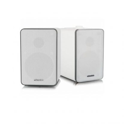 Microlab H21 Wireless Bluetooth Bookshelf Speaker System w/ Versatile Connectivity & Real Wooden & Leather Finishing Cabinets (White)