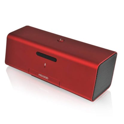 Microlab MD212 Wireless Bluetooth Portable Stereo Speaker w/ Microphone & Rechargeable Battery & Retractable Tray (Red)